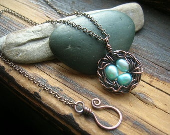 Bird nest necklace Rustic Robins Nest necklace  freshwater pearl eggs copper nest necklace Mothers day grandmother