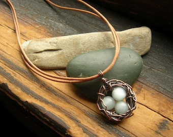 Rustic Robins Nest necklace Bird nest necklace Copper nest necklace Mother's Day mother grandmother