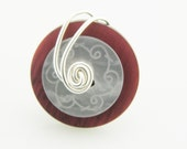 Wire wrapped Layered Button Ring Red and Silver