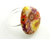 RESERVED   Clay Button Ring Floral Teardrop