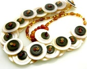 RESERVED   Mother of Pearl Button Necklace Forest Green and Amber