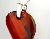 Sterling Silver Crystal Pendant Red Magma Twist Necklace