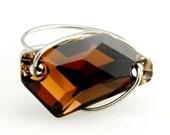 Swarovski Crystal Ring Smoked Topaz De-Art 18mm