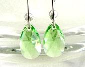 Peridot Pear Crystal Dangle Earrings