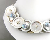 Mother of Pearl Button Necklace Button Jewelry Romantic Bridal Necklace Bridal Button Necklace