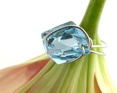 Swarovski Cosmic Ring Aquamarine Button