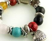 Chunky Gemstone Beaded Stretch Bracelet