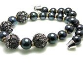 Pearl Rhinestone Necklace Charcoal Grey