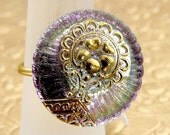 Wire Wrapped Vintage Czech Glass Button Ring Lilac