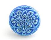 Czech Glass Button Ring Electric Blue