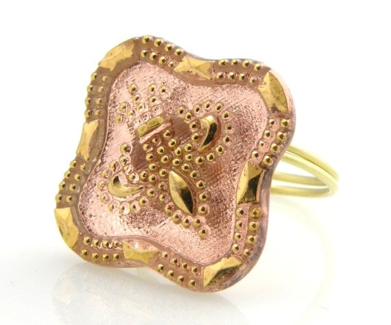 Homemade Square Peach Czech Glass Button Ring on Etsy