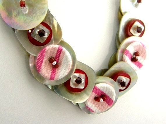 RESERVED  Button Necklace Layered Agoya Shell Red Striped