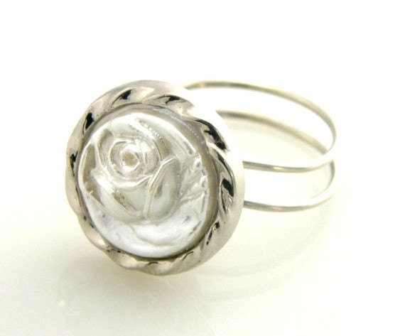 White Rose Button Ring