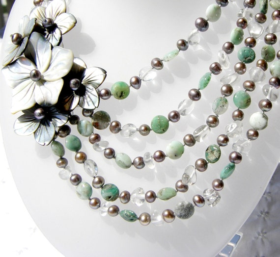 RESERVED  Pearl and Gemstone Beaded Flower Necklace