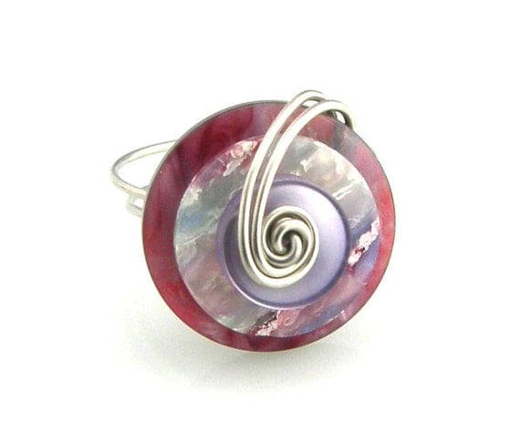 Button Ring Wire Wrapped Layered Berry Colors
