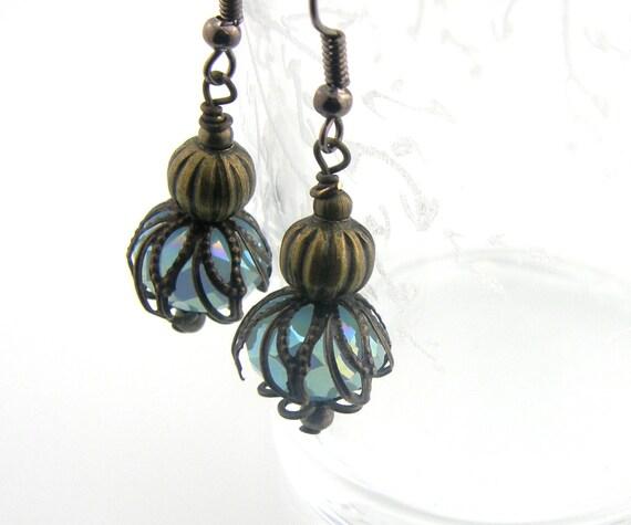 Vintage Style Dangle Earrings Brass Aqua Blue