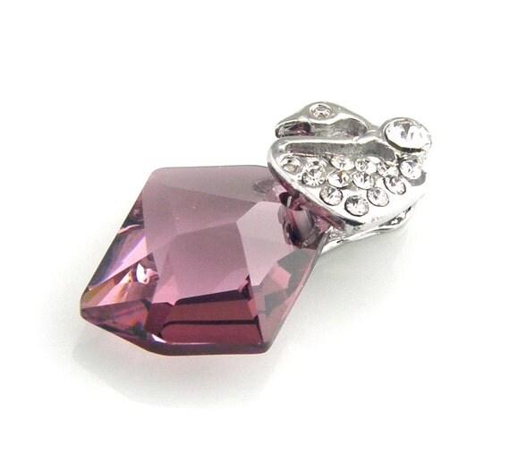 RESERVED  Swarovski Cosmic Necklace Sterling Silver Antique Pink
