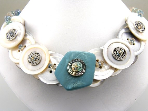 Turquoise Beaded Button Necklace