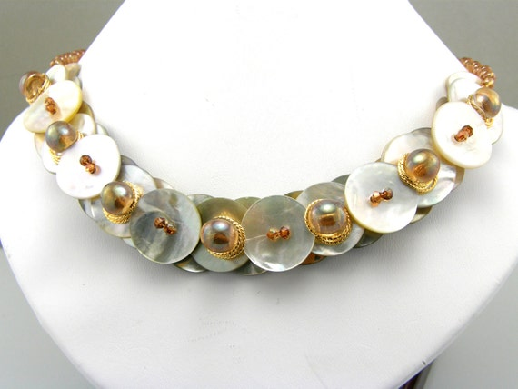 RESERVED  Mother of Pearl Layered Button Necklace Citrine