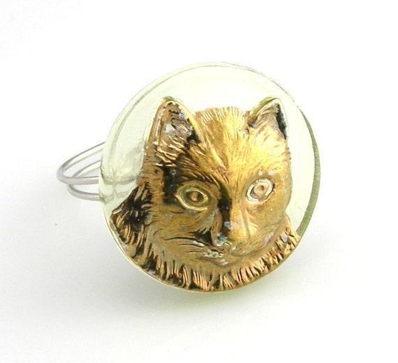 Vintage Czech Glass Button Ring
