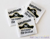 "Pirate Hat ""Cover Me Booty"" Design set of 25 Woven Clothing Labels"