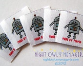 Robot set of 25 'Made by Mama' Woven Clothing Labels