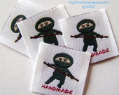Ninja set of 25 woven clothing labels
