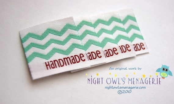 "Chevron ""Handmade""  set of 25 clothing labels"
