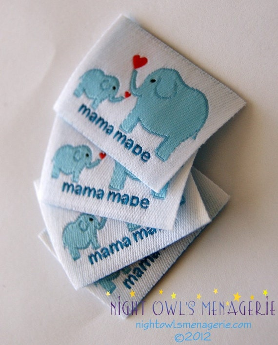 "Woven Sew On Clothing Labels set of 25 Elephants ""Mama Made"""