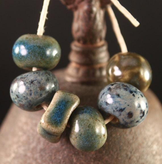 Handmade stoneware ceramic beads Blue & Green II (6)