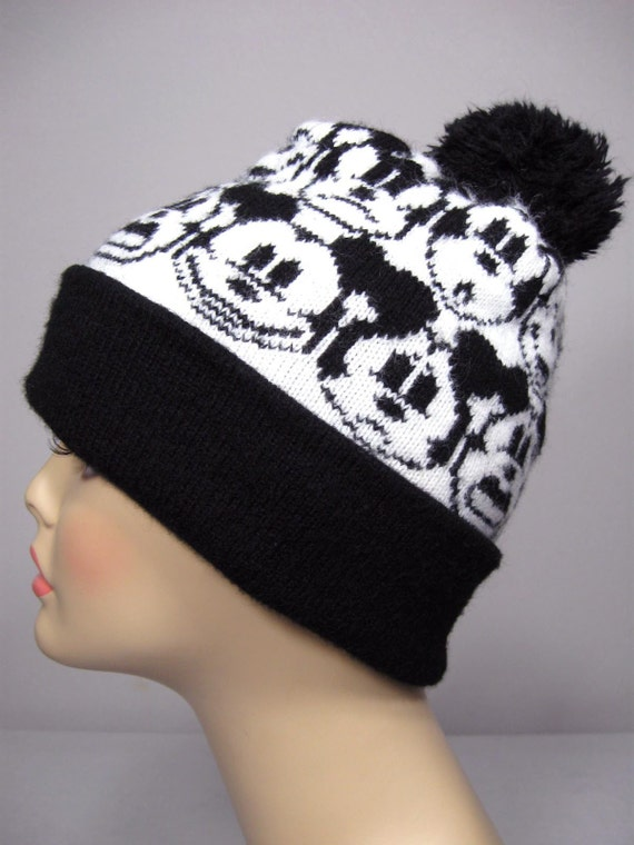 Mickey Mouse Knitted Hat Pattern : VINTAGE MICKEY MOUSE KNIT SKI HAT WITH POM by CoolCatsFashion