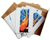 Primary Koi - Postcard Pack of 10 - Includes 10 Recycled Brown Kraft Envelopes