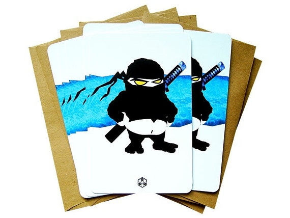 FAT NINJA Akimbo - Postcard Pack - 10 cards and 10 envelopes. So cute. So deadly.