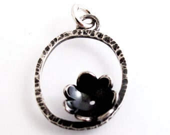 CS6 Sterling Silver Hammered Oval with Flower Charm by Kathryn Cole