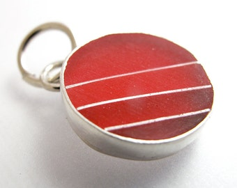 CS8 Graphic Red Resin & Silver Charm by KarlaWheelerDesign