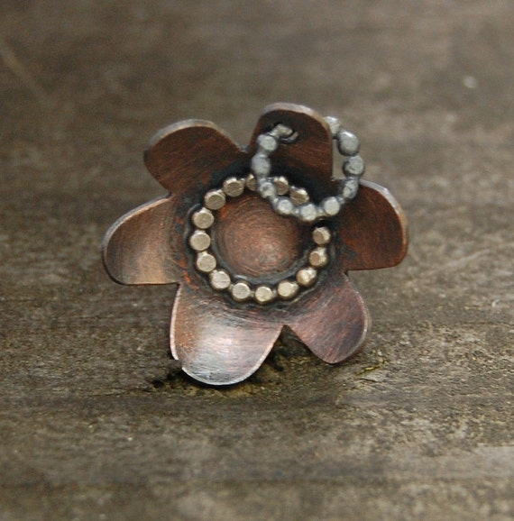 CS7 Copper Flower with Dotted Center by wildflowerdesigns