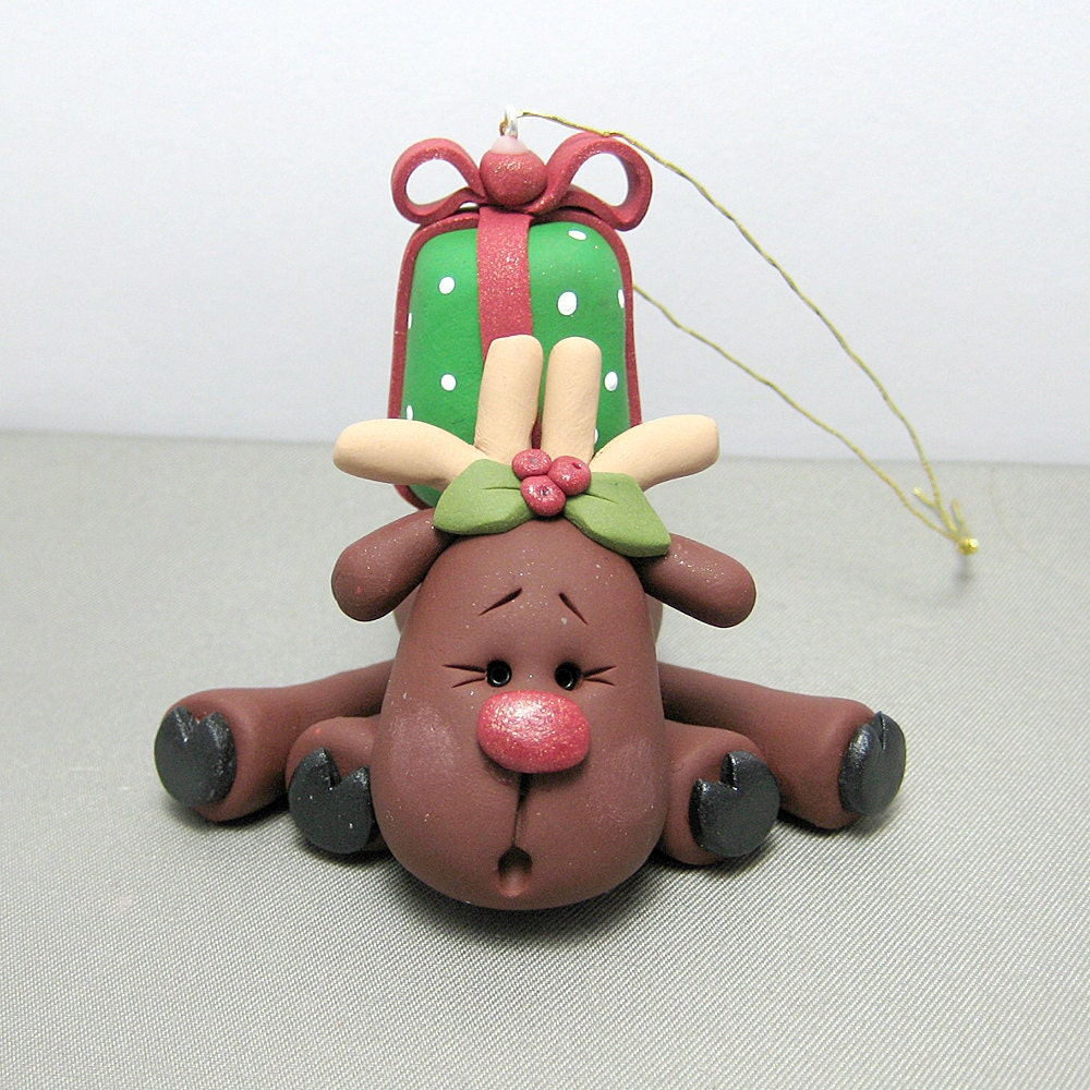 Polymer Clay Christmas Ornament: Reindeer Polymer Clay Ornament By Clayinaround On Etsy