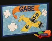 Kiddie Mats - Glittery Personalized Placemats for Kids - Airplane (Boy) - Made just for you with ANY NAME