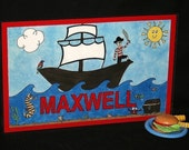 Kiddie Mats - Glittery Personalized Placemats for Kids - Pirate - Made just for you with ANY NAME