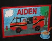 Kiddie Mats - Glittery Personalized Placemats for Kids - Fire Truck - Made just for you with ANY NAME