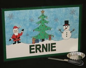 Kiddie Mats - Glittery Personalized Placemats for Kids - Christmas (Green) - Made just for you with ANY NAME
