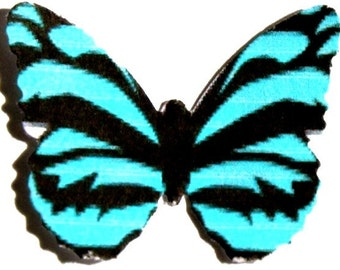 24 Blue Zebra Butterfly Paper Embellishment for scrapbooking, DIY weddings, butterfly baby showers, wall art, cupcake toppers, school kits