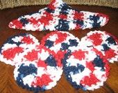 Crochet Cotton Cloth and Five Facial Scrubbies  AMERICANA
