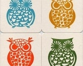 Owl Gocco Print 4 Chipboard Coasters - Set No. 1 by Kerry Beary