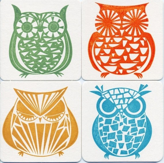 Owl Gocco Print 4 Chipboard Bar and Lounge Coasters - Set No. 4 by Kerry Beary