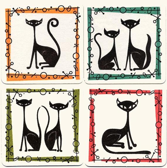 Gocco Cool Cosmic Cat Coasters Set Of 4 Chipboard Bar Coasters
