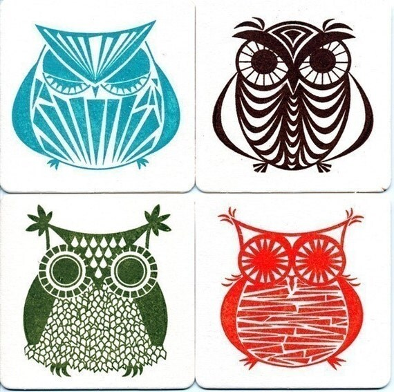 Owl Gocco Print 4 Chipboard Coasters - Set No. 3 by Kerry Beary