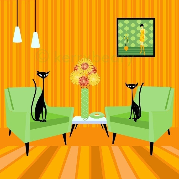 mid century design modern cat art print by kerry by kerrybeary. Black Bedroom Furniture Sets. Home Design Ideas