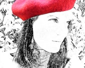 Red wool felted beret