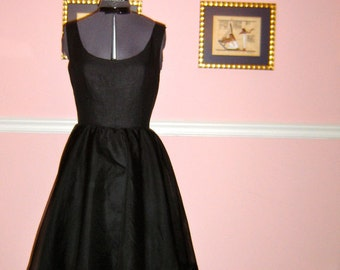 Black Linen and Silk Organza Audrey Dress/ Made To Order